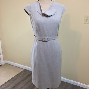 Calvin Klein Stretch Sheath Belted Dress Grey